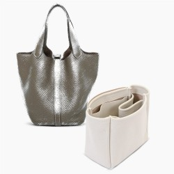 Picotin 18 / 22 / 26 Regular Style Suedette Handbag Organizer (Pearl White) (More Colors Available)