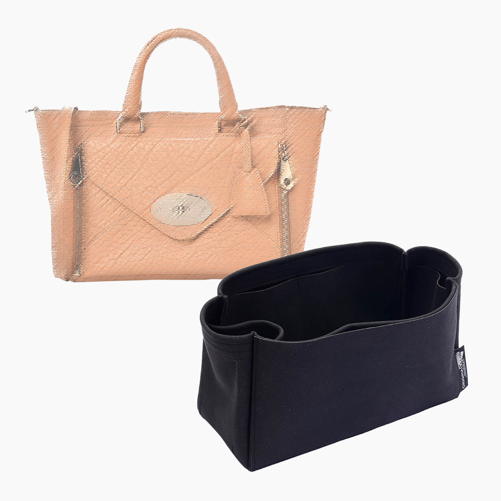 Willow (Mulberry) Suedette Singular Style Leather Handbag Organizer Liner (Black) (More Colors Available)