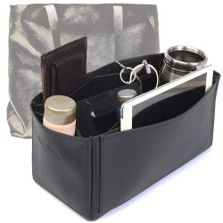 Cuy. Classic Leather Zipper Tote Deluxe Leather Bag Organizer in Black Color