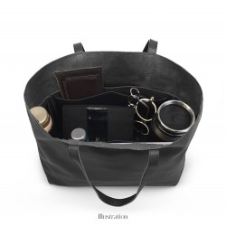 Cuy. Classic Leather Tote Deluxe Leather Bag Organizer in Black Color