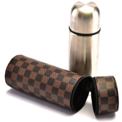 LV Monogram Upcycled Case with Stainless Steel Thermos and Cup