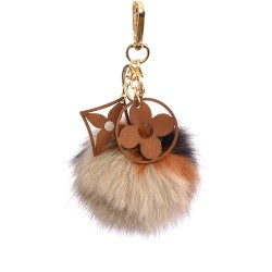 Pompom Double Blossom Bag Charm in Four Colors Mix
