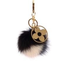 Pompom Blossom Bag Charm in Black, Pearl White and Dark Gray Colors