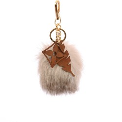 Pompom Blossom With Feather Bag Charm in Bone White Fur