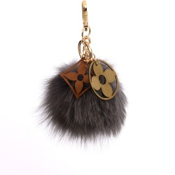 Pompom Double Blossom Bag Charm in Chelsea Gray Fur