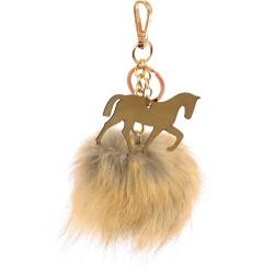 Pompom Trotting Horse Bag Charm in Light Beige Fur