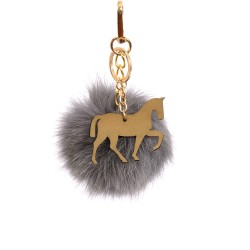 Pompom Trotting Horse Bag Charm in Gray Fur