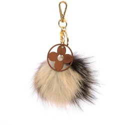 Pompom Blossom Bag Charm in beige, black and spicy mix multicolor Fur