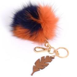 Pompom Leaf Bag Charm in Orange and Navy Fur