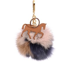 Pompom Trotting Horse Bag Charm in Various Colors of Fur