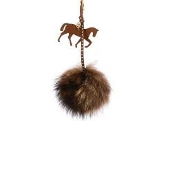 Pompom Trotting Horse Bag Charm in Brownish Fur