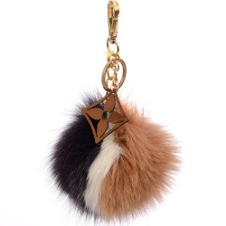 Pompom Blossom Bag Charm in White, Black and Tan multicolor Fur