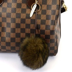 Pompom Bag Charm in Brown and with Feather Figure