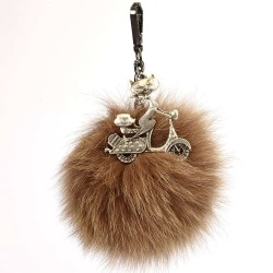 Pompom Bag Charm with a Rider Lady Cat Figure