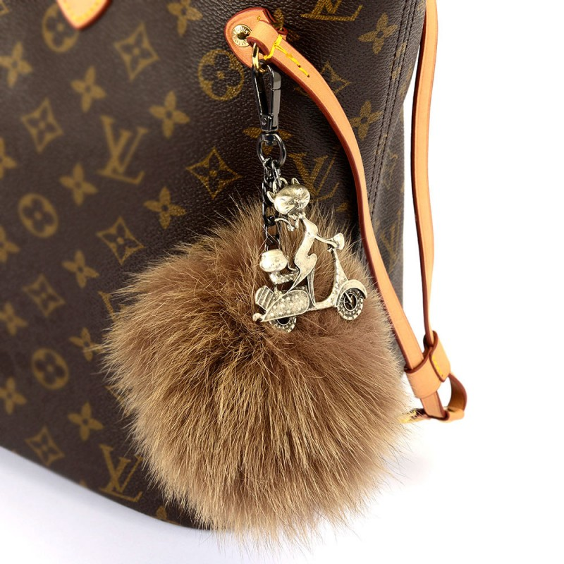 Pompom Bag Charm in mocha color of fur and with a Rider ...
