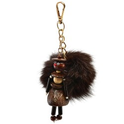 Pompom with the Wood Doll Girl Figure Bag Charm