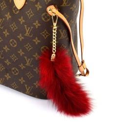 Pompom Tail Bag Charm in Crimson Color of Fur