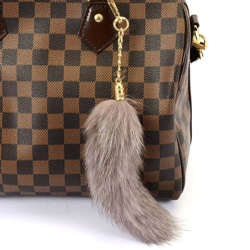 Pompom Tail Bag Charm in Gray Color of Fur