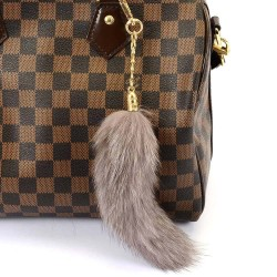 Pompom Tail Bag Charm in Gray Color of Fur