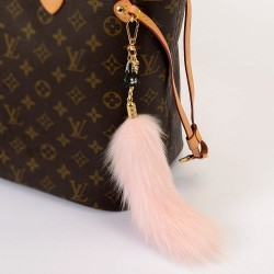 Pompom Tail Bag Charm in Light Pink Color