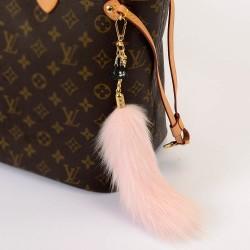 Pompom Tail Bag Charm in Light Pink Color