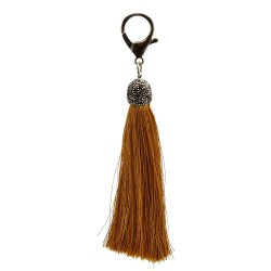 String Silk Tassel Bag Charm in Tan Color