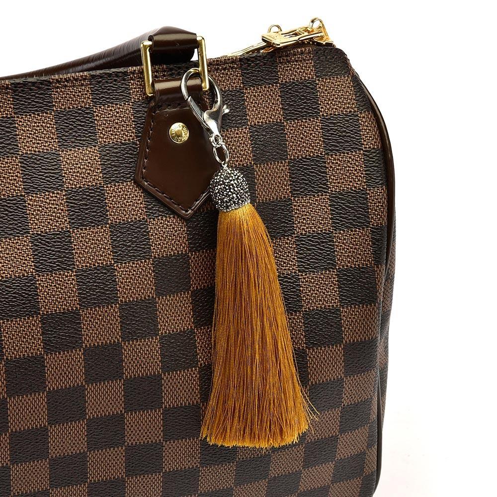 String Silk Tassel Bag Charm in Tan Color
