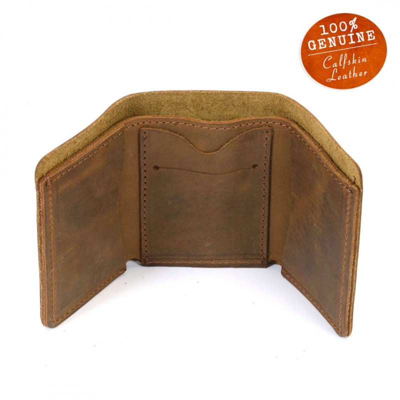 876a5060601e7 ... Personalized (With Your Photo) Leather Trifold Wallet In Cinnamon Color  ...
