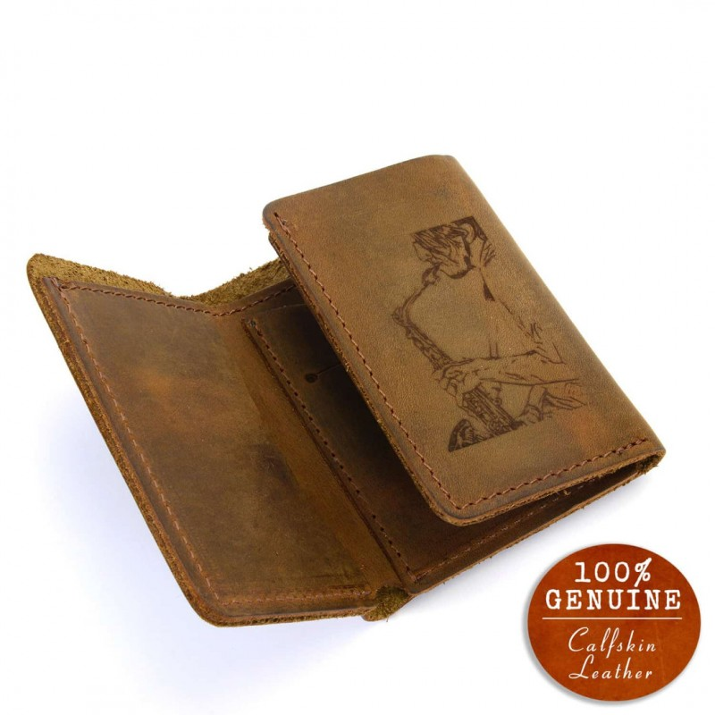 Personalized Leather Trifold Wallet In Cinnamon Color