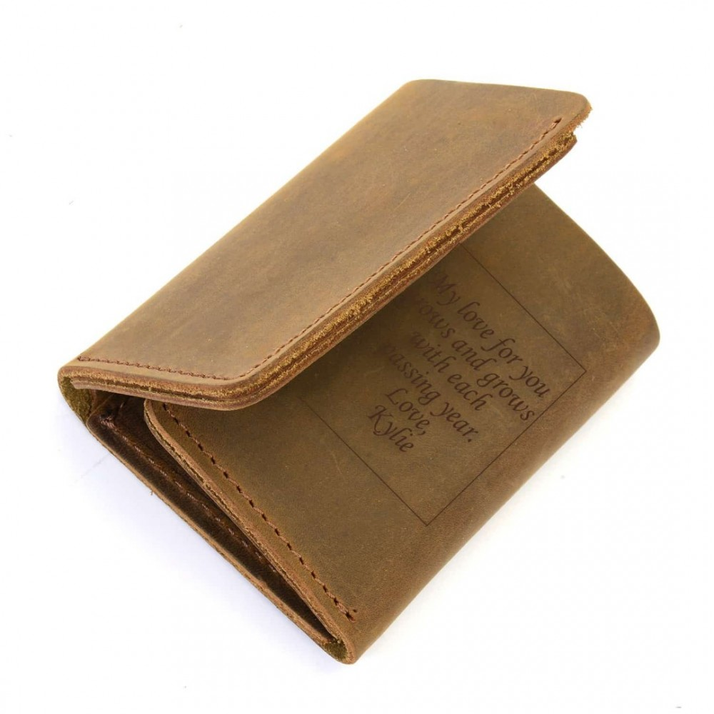 d1dbbc273d3bc Personalized (With Custom Text Message) Leather Trifold Wallet In Cinnamon  Color