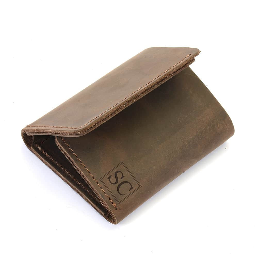 personalized leather trifold wallet in espresso color personalized