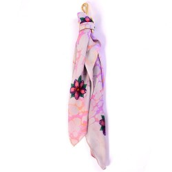 Blossoms of Pink Handmarbled Bag Scarf Key Fob
