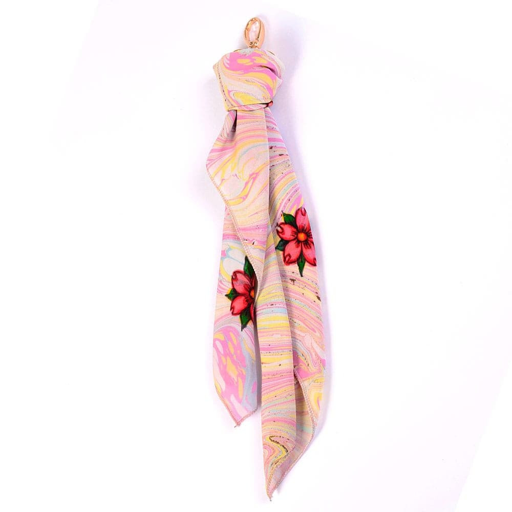 Cherry Blossoms Handmarbled Bag Scarf Key Fob