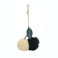 Twin Cherries Rabbit Fur Pompom Bag Charm in Black / Ecru