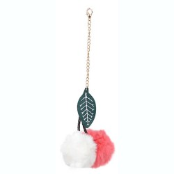 Twin Cherries Rabbit Fur Pompom Bag Charm in Pink / White