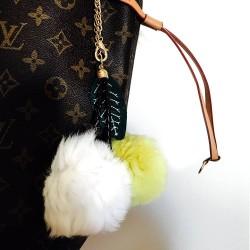Twin Cherries Rabbit Fur Pompom Bag Charm in Yellow / White