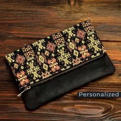 Kilim Clutch Bag With Onyx Black Leather