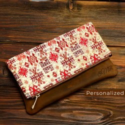 Kilim Clutch Bag With Cinnamon Leather