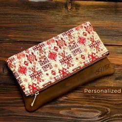 Kilim Clutch Bag With Cinnamon Leather