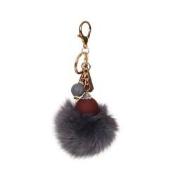 Fox Fur Pompom Geometric Bag Charm