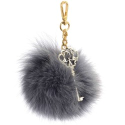 Pompom Bag Charm in Light Gray and with Vintage Key Pendant