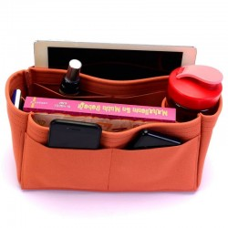 Suedette Handbag Organizer with Two Round Holders - Size: 29 / 16 / 13 cm