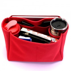 Suedette Handbag Organizer with Two Round Holders - Size: 28 / 18 / 14 cm